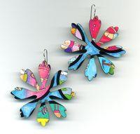 Flower Game Board Earrings in Blue and Pink by Harriete Estel Berman