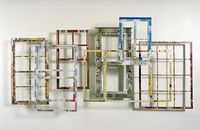 Windows of Memory by Harriete Estel Berman are constructed from vintage steel dollshouses and recycled tin cans.