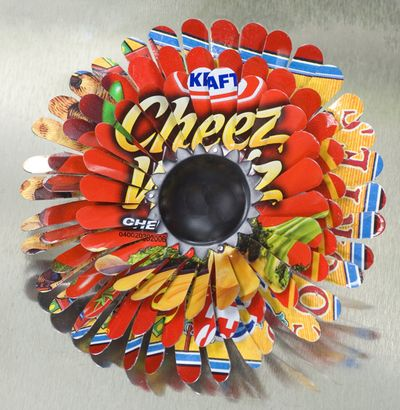 Harriete Estel Berman's April Flower Brooch Flower PIN in red and yellow with Cheez Whiz and black center.