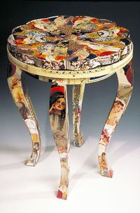 Fading Identity a Vanity Seat by Harriete Estel Berman from recycled tin cans.