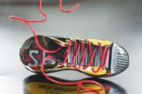 CERF shoe by harriete Estel Berman constructed from recycled tin cans, shoe laces are a peice of recycled copper wire.