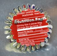 Harriete Estel Berman's April Flower Nutrition Brooch back view shows the nutrition label.