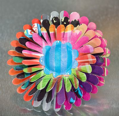 April Flower Brooch in Vibrant Colors with Blue and Purple Center by Harriete EStel Berman for Earth Day.