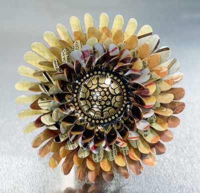 Harriete Estel Berman Yellow April Flower Brooch is constructed in honor of Earth Day 2010.