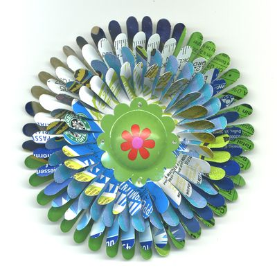 Green Blue Starbucks Flower Pin by Harriete Estel Berman is jewelry constructed from recycled materials.