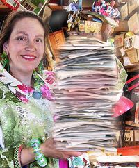 Harriete Estel Berman with tons of receipts.