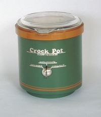 Crock Pot front view is an appliance by Harriete Estel Berman constructed from brass, sterling silver, painted and plated.