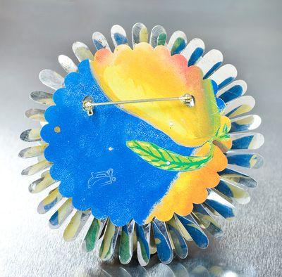 Harriete Estel Berman April Flower in honor of Earth Day in blue Yellow with Celestial Seasoning never stops blooming.