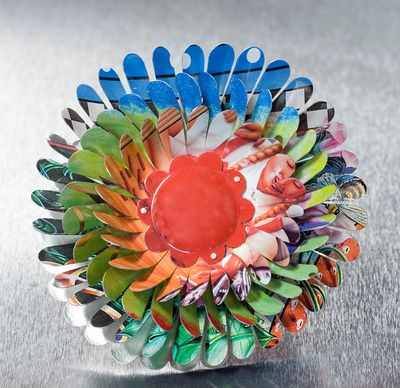 Harriete Estel Berman April Flower Brooch in multiple layers, many petals, with Coca-Cola motif.