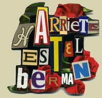 Harriete Estel Berman  custom made name tag in brillant yellow, red and white .