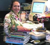 Harriete Estel Berman working in her office.