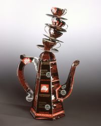 Illy COFFEEPOT. titled Coffee the Golden Ratio by Harriete Estel Berman is constructed from reycled tin cans, an art coffee pot
