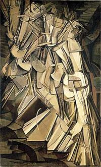Duchamp's Nude Descending a Staircase perhaps the most famous painting from the Armory Show.