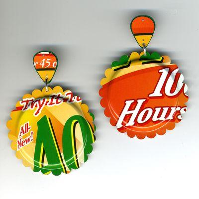AOL yellow and orange tin can earrings by Harriete Estel Berman