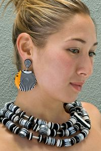 Earrings by Harriete Estel Berman and Necklace by emiko oye.