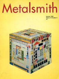 Cover of 1990 Summer issue of Metalsmith Magazine with a yellow photographic background.