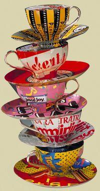 Consuming Conversation stack of teacups by Harriete Estel Berman