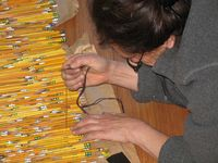 Harriete Estel Berman working on the pencils