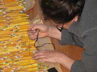 Harriete Estel Berman working on the pencils