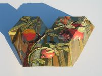 TuBishvat Seder plate by Harriete Estel Berman photographed with harsh sunlight creating blue shadows and dark areas.