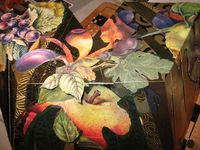 TuBishvat seder plate in progress by Harriete Estel Berman