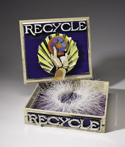 Recycled Fruit Crate by Harriete Estel Berman about recycled plastic waste.