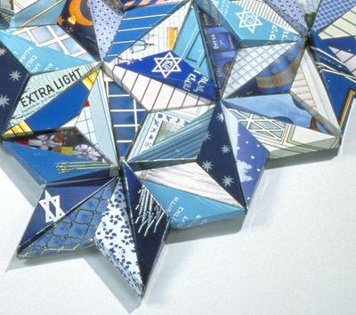 Menorah Jewish Star by Harriete Estel Berman from recycled materials.