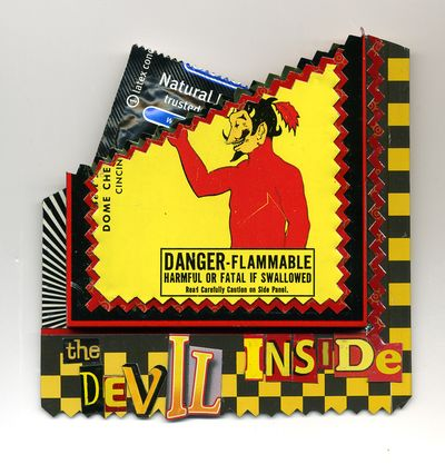 Devil Inside Pin holds a condom  for the devil inside