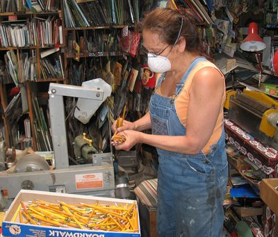 Harriete sharpening pencils  for sculpture about educationr