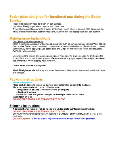 Maintenance and SHIPPING PAGE 2 sample instructions for shipping and maintaining art and craftin