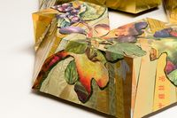 FIG Leaves and figs in an abstraction on my Tu Bishvat Seder plate
