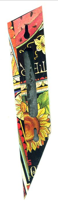 Yellow Flower with Scroll Mezuah from recycled materials by Harriete Estel Berman