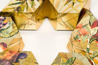 Inside STAR of Tu Bishvat Seder plate by Harriete Estel Berman