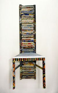 Consuming Identity Chair Material  constructed by Harriete Estel Berman from recycled tin canitid