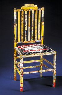 Material Identity Chair constructed by Harriete Estel Berman from recycled tin cans.n r