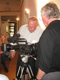 Camera man  David L. Brown and sound guy Stephen Longstreth  working  on technical difficulties
