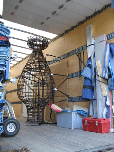 Kim Cridler large sculpture shipped in truck.ut