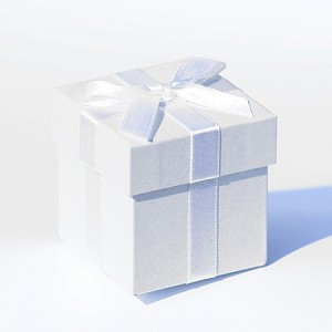 White box white ribbon