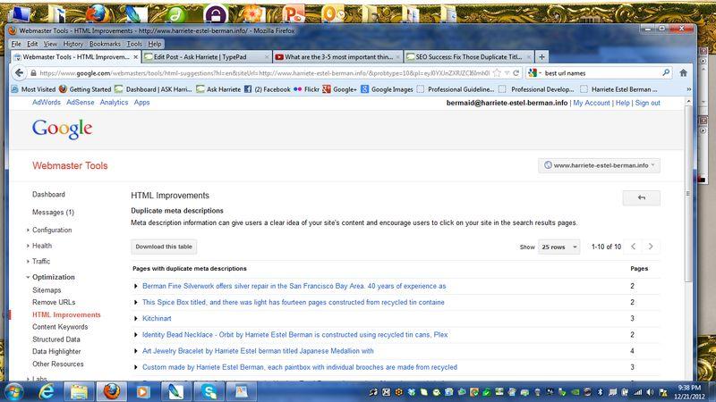 GoogleWebmasterDuplicateDescriptions