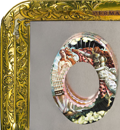 Art jewelry Botticelli Birth of Venus from cookie tins as an indication of good taste.e