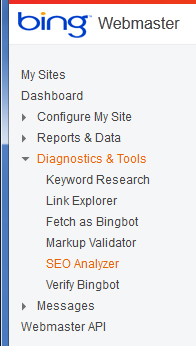 Bing Webmaster Diagnostics ToolsSEOAnalyzer