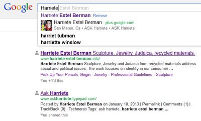 Google AUTHOR results  for Harriete Estel Berman