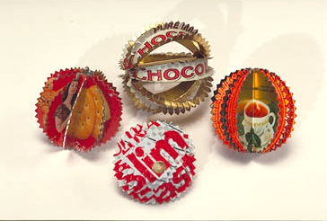 4 Worry Beads from recycled tin cans by Harriete Estel Berman