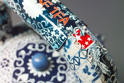 Boston Chinese Tea Teapot detail constructed from recycled tin cans by Harriete Estel Berman