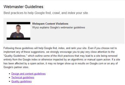 GoogleWebmasterGuidelines