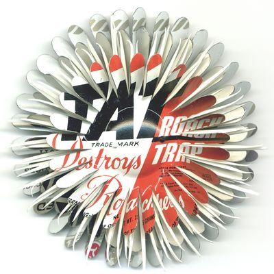 Tat Roach Motel Flower Pin in red, white, and black from Harriete Estel Bermano