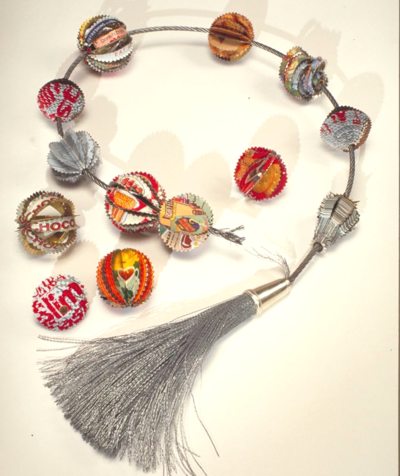 Worry Beads by Harriete Estel Berman constructed from recycled tin cans.72