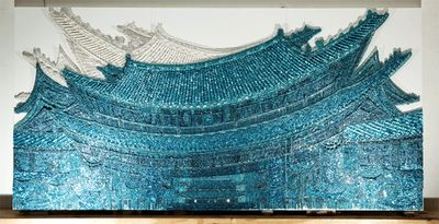 Murals Created with Thousands of Buttons, Pins and Beads by Ran Hwang