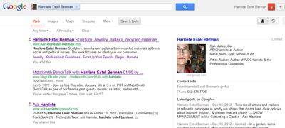 Google search results Harriete Estel Berman