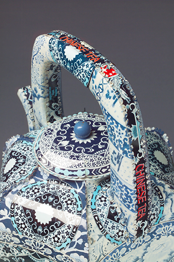 Boston Chinese Tea Teapot in Blue and White by Harriete Estel Berman from recycled tin cans.  B